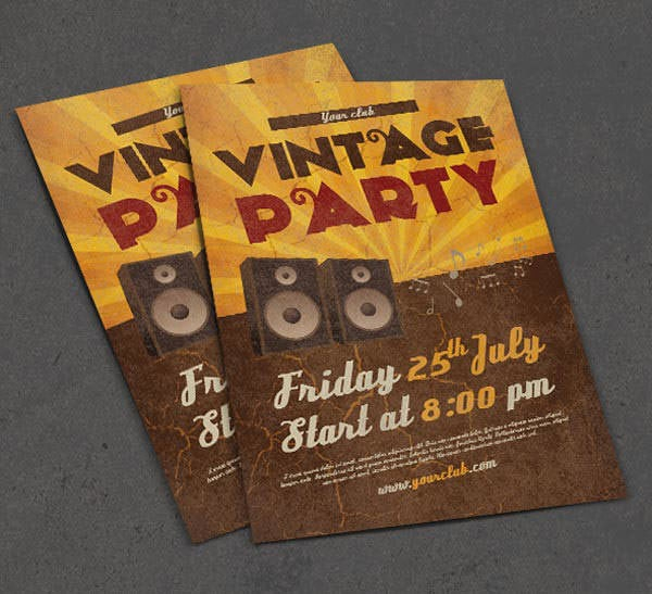 vintage a4 party flyer