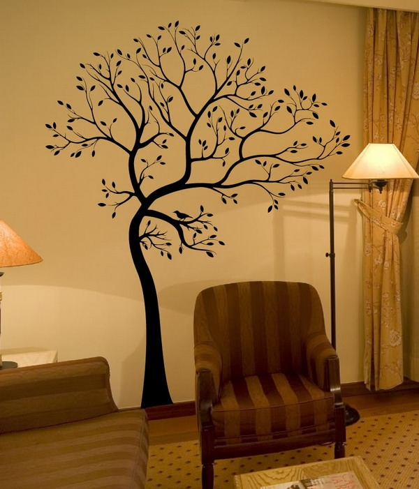 decorating tree wall murals home interior design ideas1 - Interior Design On Wall At Home