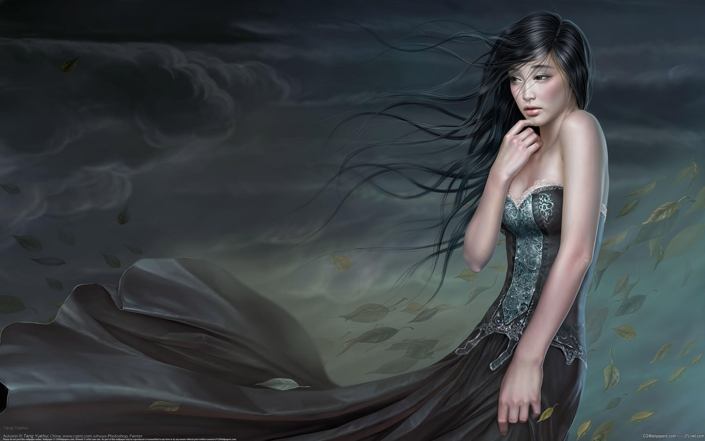 -beautiful-women painting-wallpaper