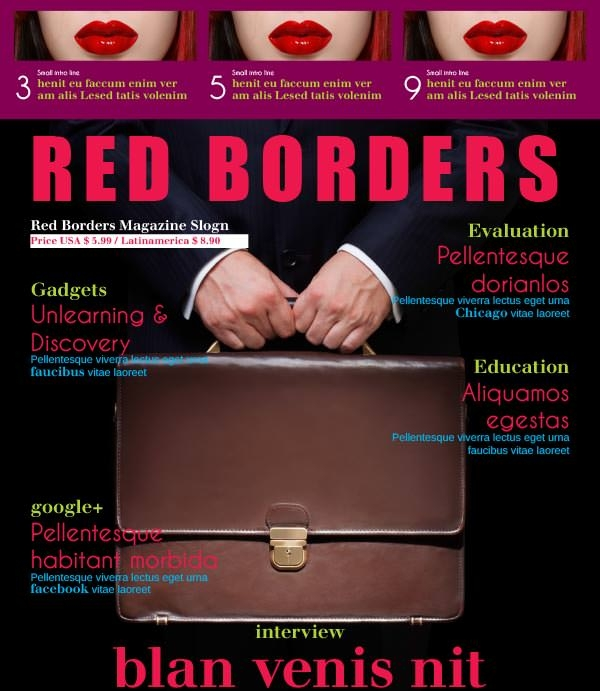 red-borders-magazine-template