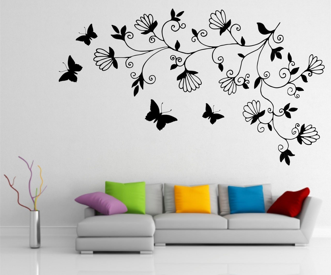 15 wall paintings psd vector eps jpg download for Butterfly wall mural