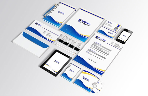 blue corporate identity template with round elements