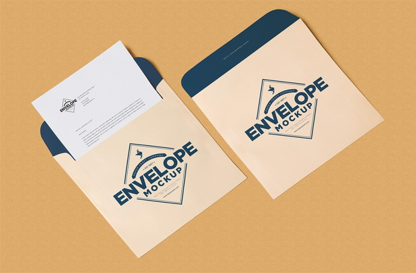 Free Unique Squared Shaped Envelope PSD Mockup & Letterhead Mockup