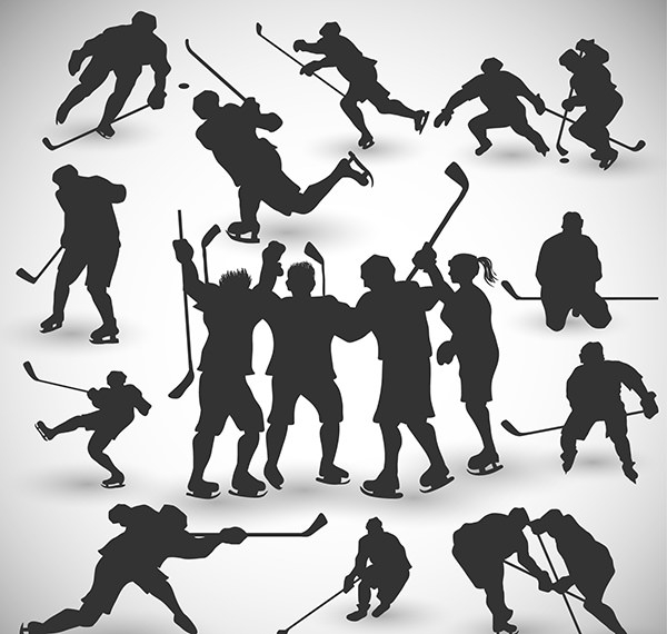 Hockey-players-silhouettes-set