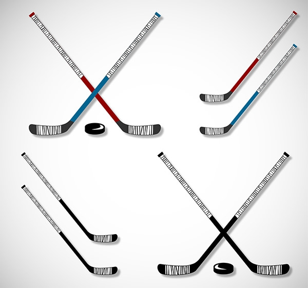 Hockey-sticks-and-pucks-set
