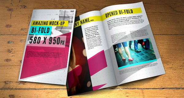 bi fold brochure psd mock up template