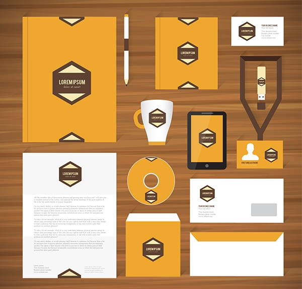 corporate identity template in retro style