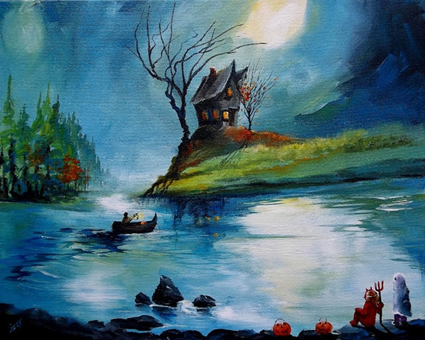 halloween-haunted-house-painting