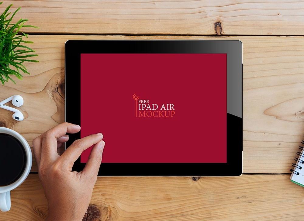 ipad air on desk mockup - Mockup Ipad Free
