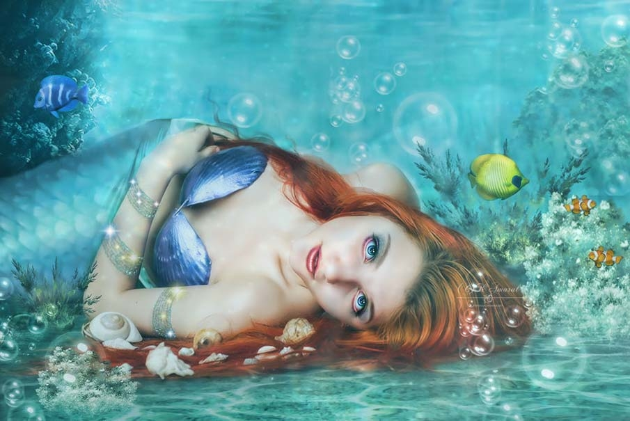 under mermaid digital painting