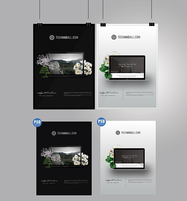 A4-Poster-and-Frame-mockup-PSD