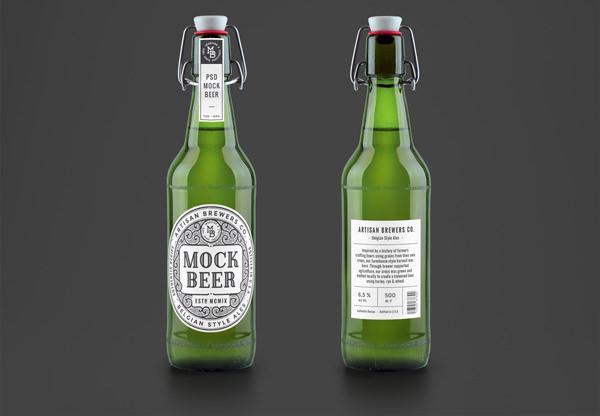 artisan beer bottle mockup 600