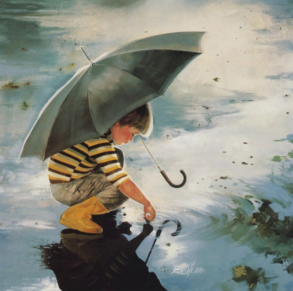 Beautiful-painting---A-boy-is-playing-in-rain-water