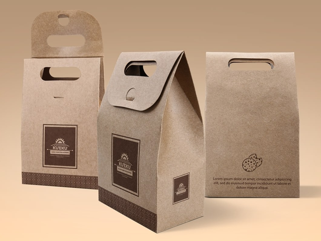 Cake Cookie Kraft paper Bag Mockup