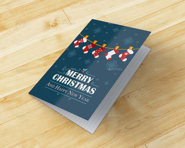 Christmas and Happy New Year Greeting Card Mockup