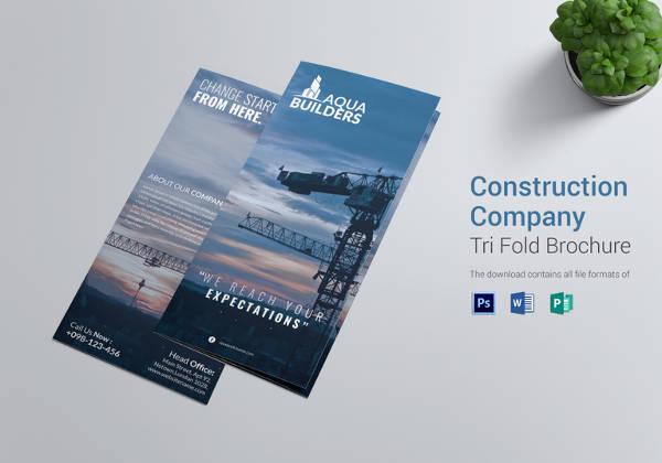 Construction Company Tri Fold Brochure Design