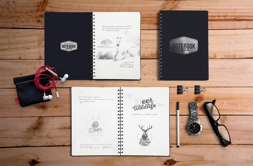 Download Free PSD Notebook Mockup with Movable Elements