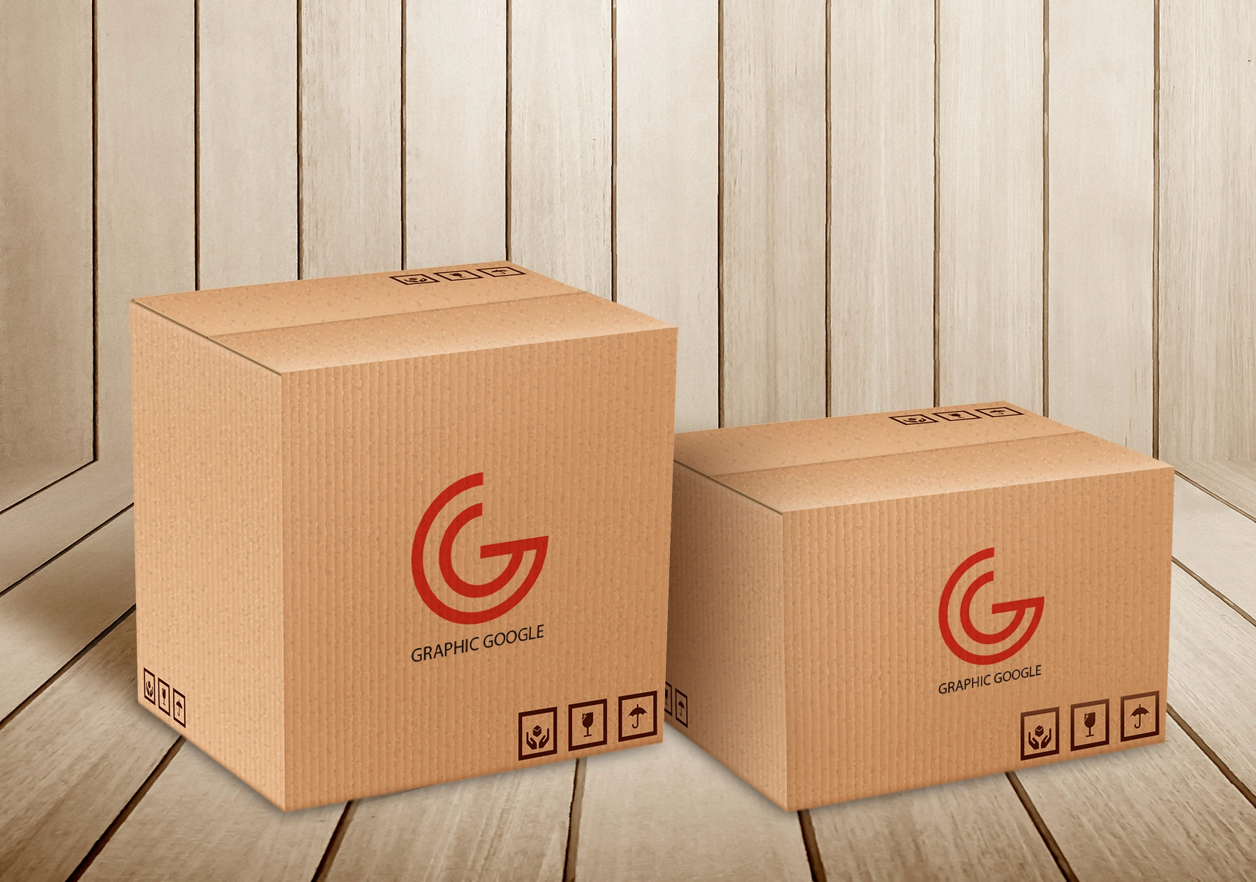 Free PSD Editable Carton Delivery Packaging Box Logo Mockup