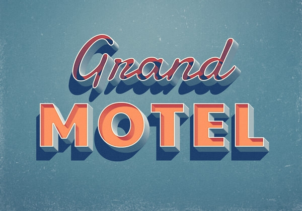 free psd retro 3d grand motel text effect
