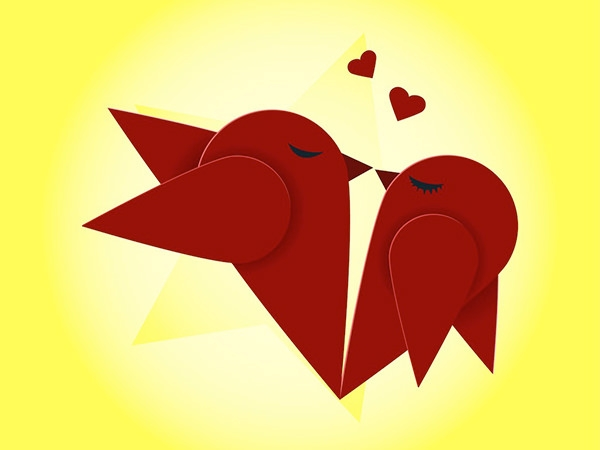 FreeVector-Kissing-Birds-grreting-card