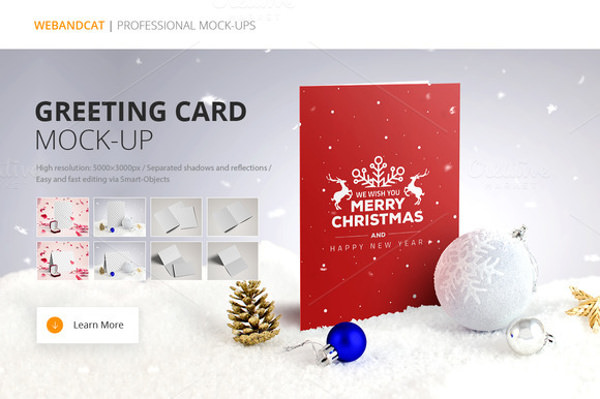 Fully Editable Merry Christmas Greeting Card Mockup