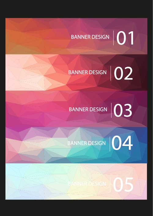 Geometric Shapes Numbered Banners