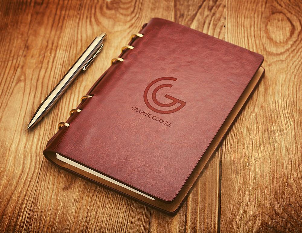 Notebook Emboss Logo Mockup PSD