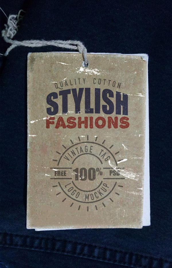 vintage clothing label mockup psd