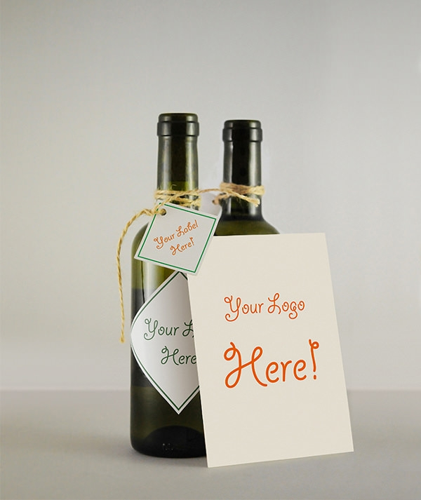 wine bottle mockupwith gretong card mockup