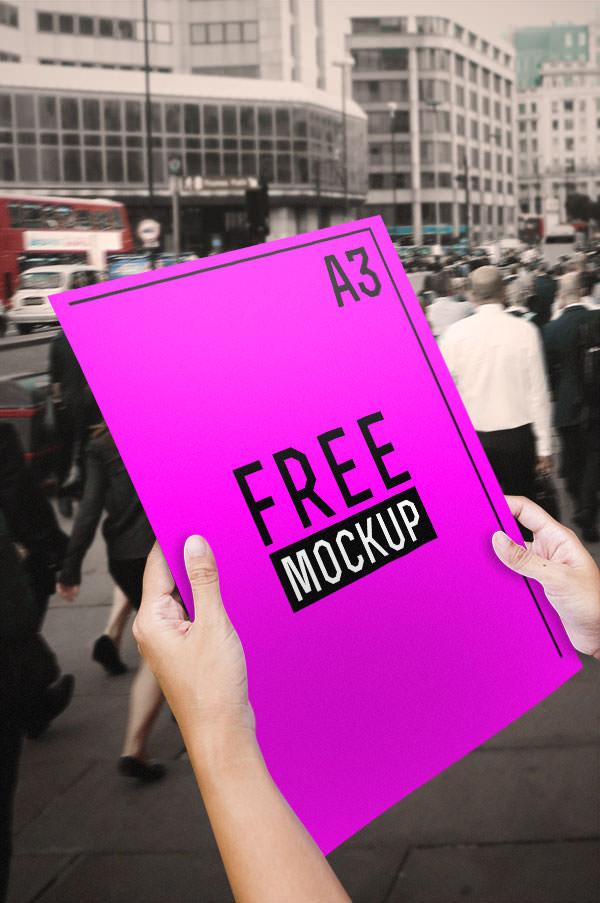 a3 flyer mockup free psd