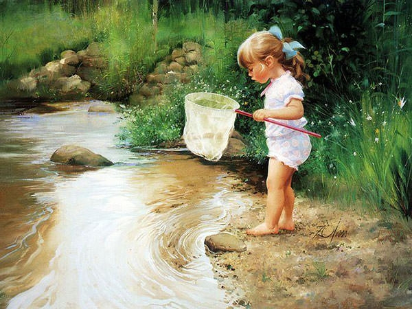 baby-doing-fishing-oil-painting