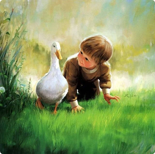 baby-painting-with-duck