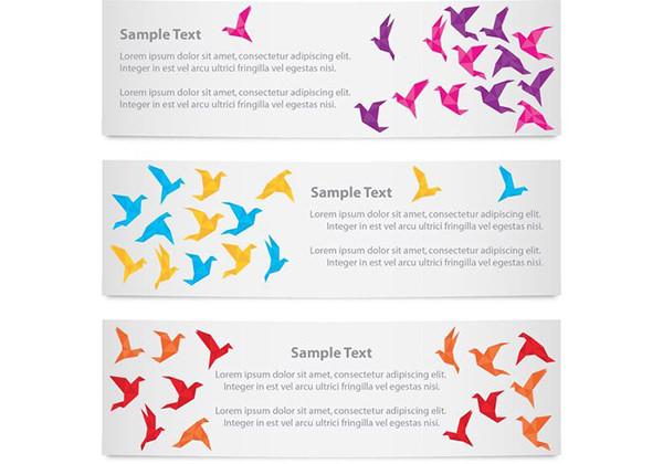 banners-origami-birds-vector