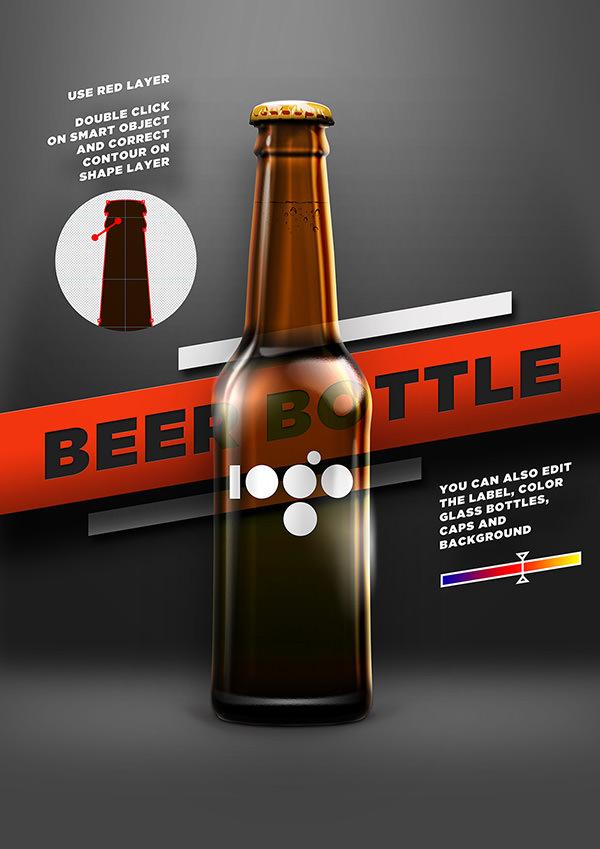 beer shape bottle mockup psd