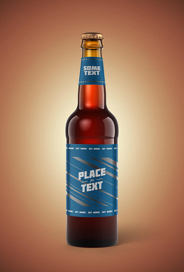 Black Berries Photorealistic Beer Bottle Mockup