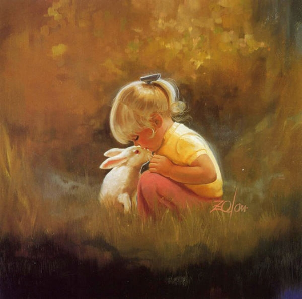 cute-baby-oil-painting-with-rabbit