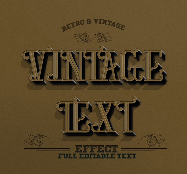 easily editable retro vintage photoshop text effect