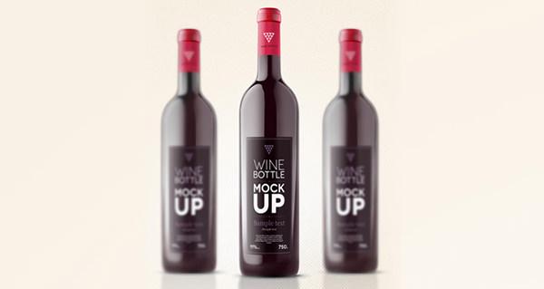 psd wine bottle mock up template 3d