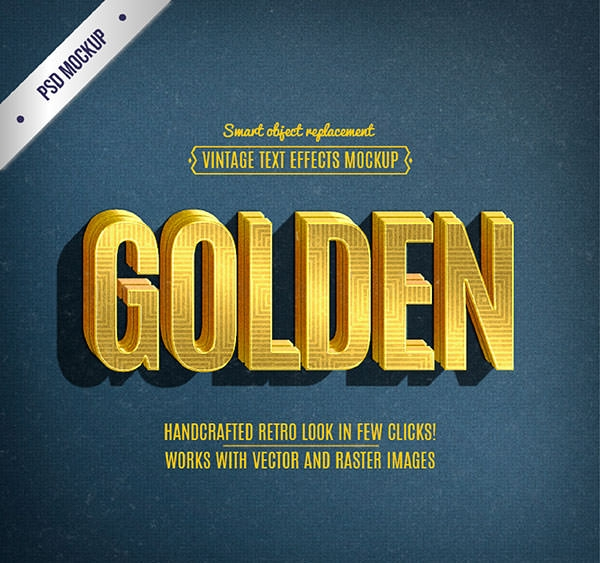 retro lettering golden text effect
