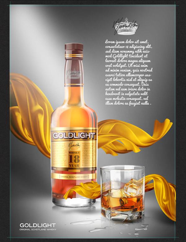 whisky bottle mockup psd