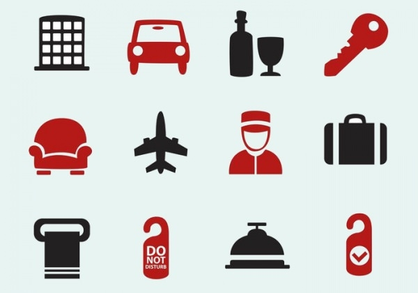12 Hotel Icons Free Vector