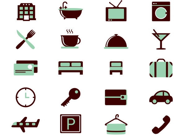 16 Coloured Hotel Icons Free Vector Set