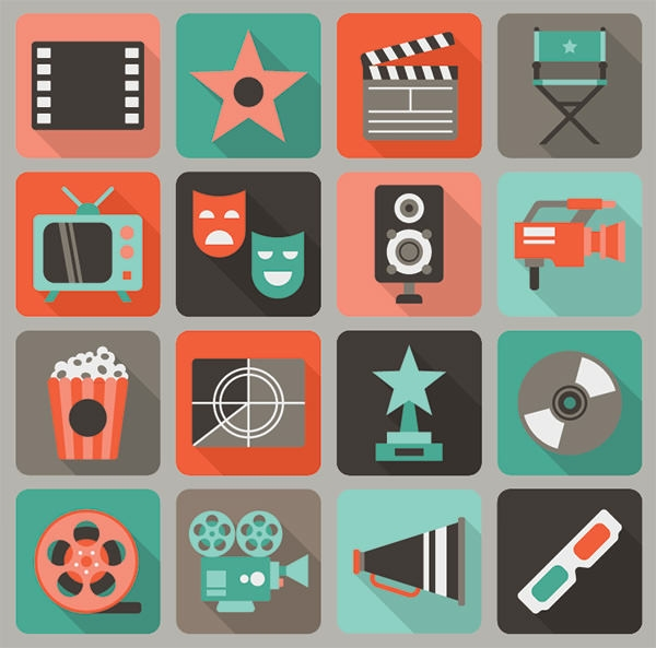 16-free-flat-film-vector-icons-set