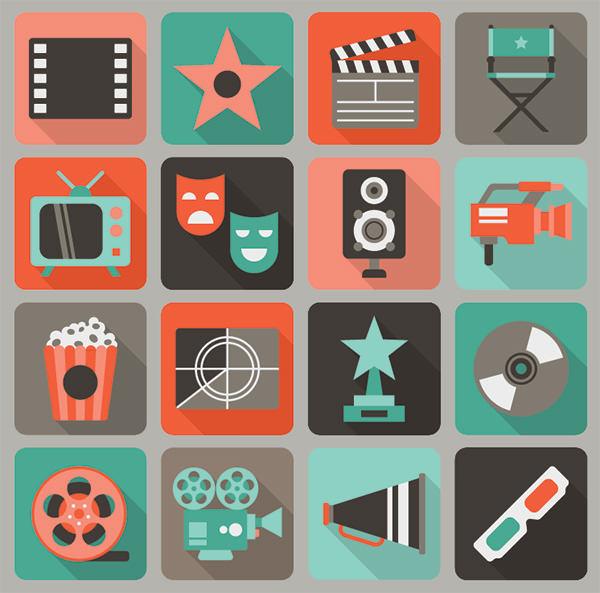 16-free-flat-film-vector-icons-set