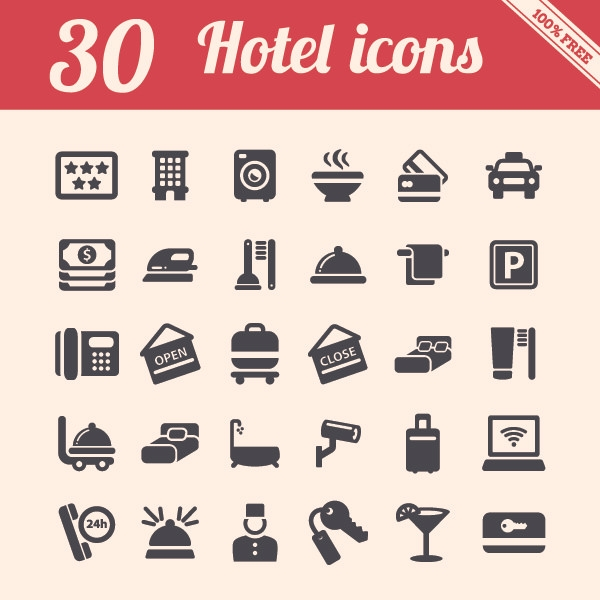 30 hotel icons pack