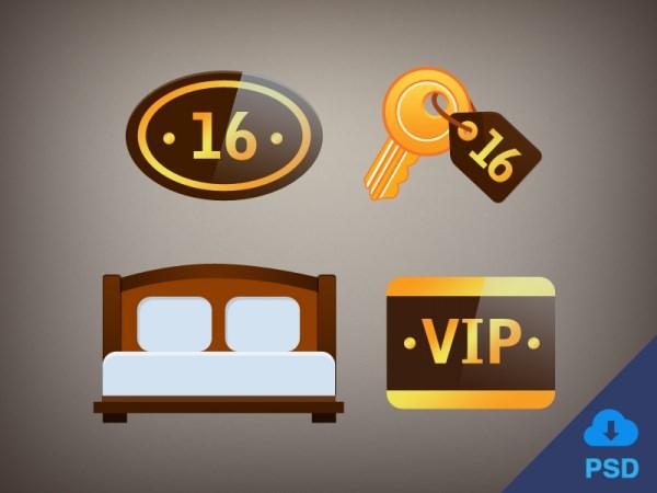 4 free flat hotel icons psd