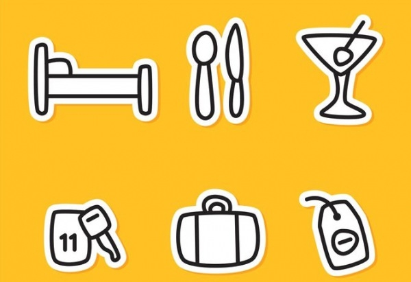 6 hotel outline icons free vector