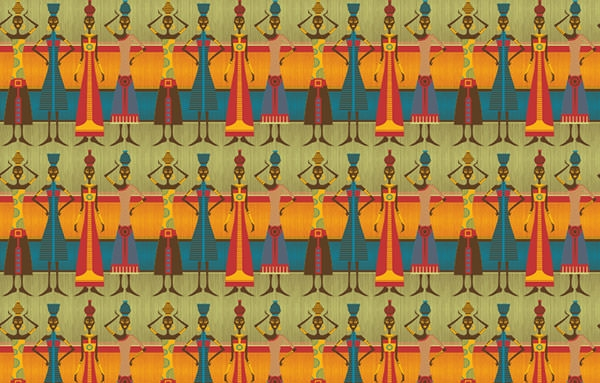 africanwomen with vases pattern