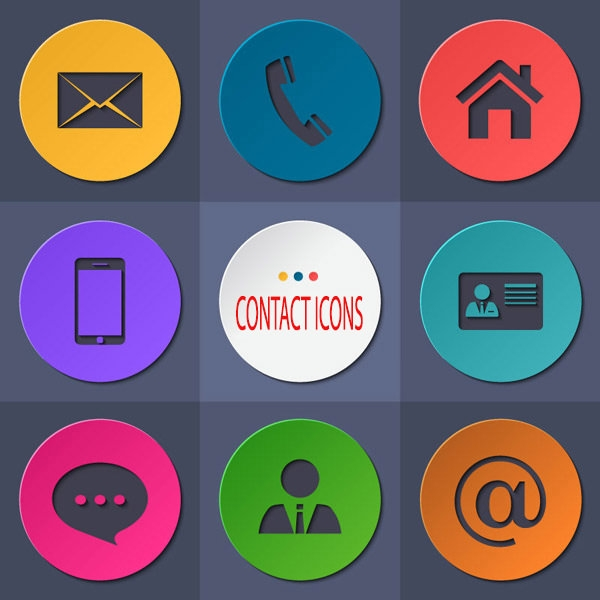 flat round contact icons set