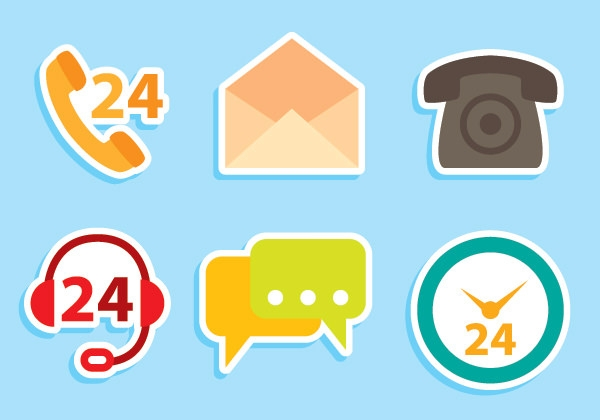 Flat-Shadow-styled-contact-icons-free-vector